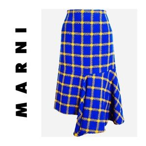 MARNI Blue Yellow Plaid Asymmetrical Wool Skirt 44